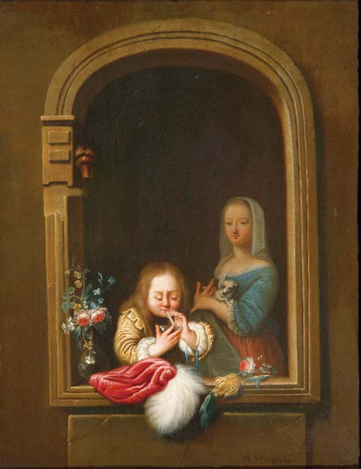 A boy in a window blowing bubbles, a girl with a dog in her arms behind