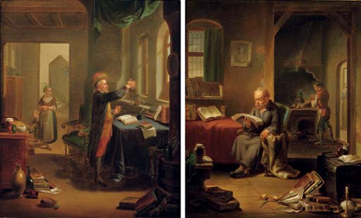 An alchemist at work, a woman and child beyond; and A scholar in his study, a male servant lighting a stove beyond