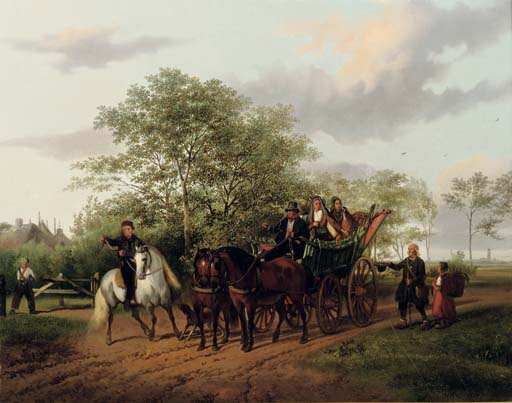 A halted carriage with Utrecht in the distance