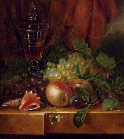 Fruit and seashells on a ledge