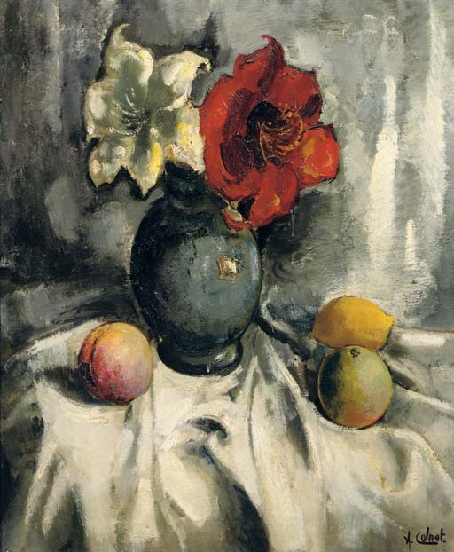 A still life with amaryllis in a vase