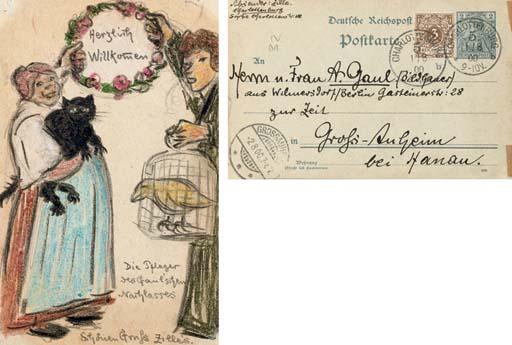 Herzlich Willkommen - an hand drawn postcard