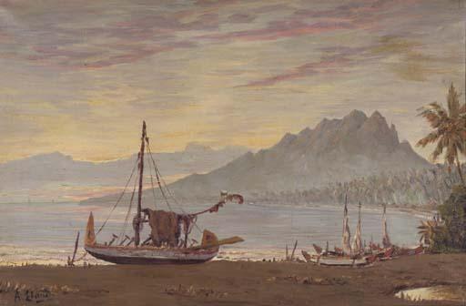 Fisherboats at dusk