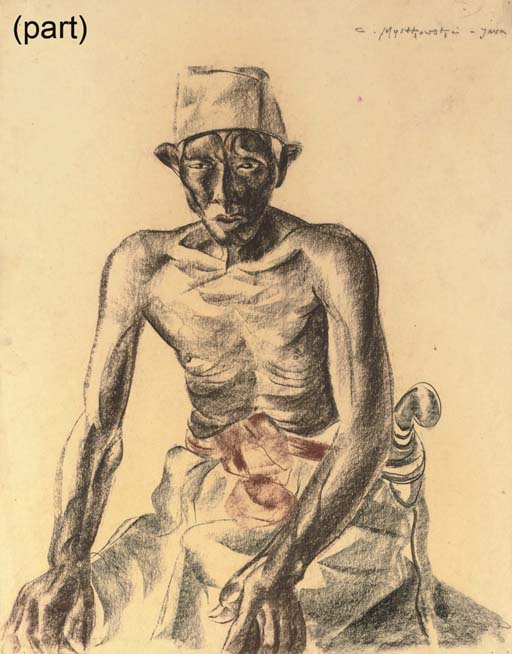 A collection of works on paper depicting Indonesian and European subjects