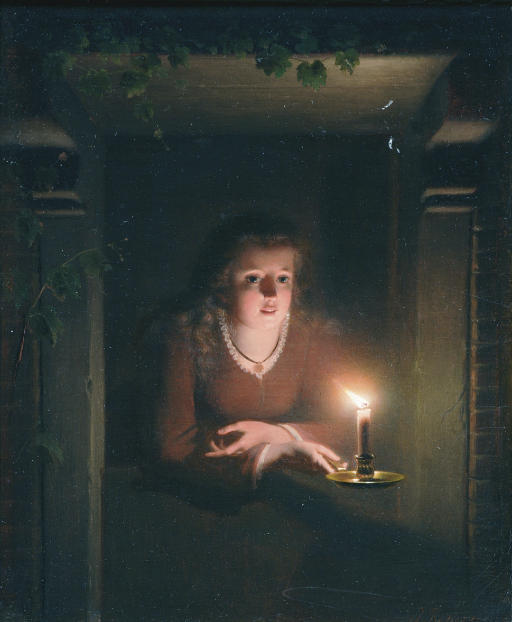 A young girl by candlelight