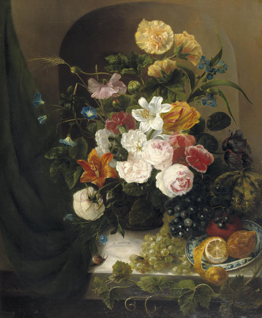A colourful summer bouquet with fruit on a ledge