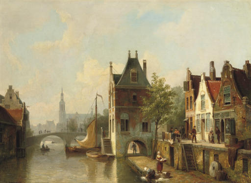 A capriccio view of a canal in Alkmaar