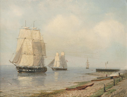 Sailingvessels along a shore