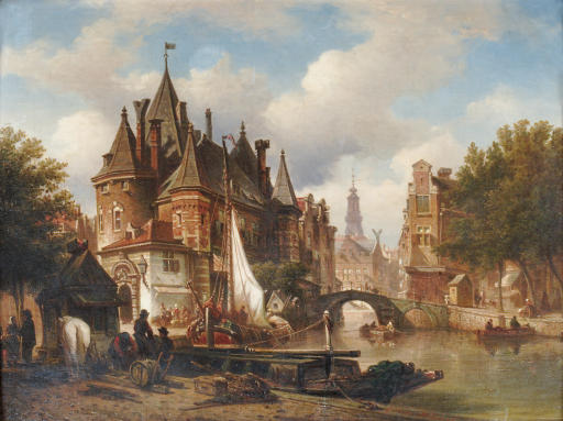 The Waag on the Nieuwmarkt with the Oude Kerk in the distance, Amsterdam