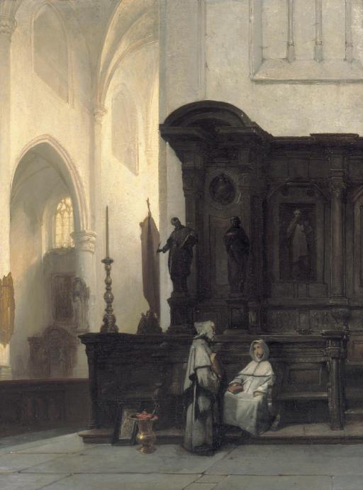Gothische kerk te Wouw: a Gothic church interior with monks conversing