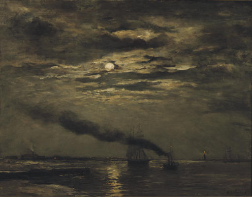 Maaneffect: entering the harbour by moonlight