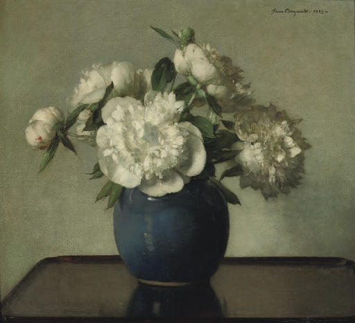 White peonies in a blue earthenware vase