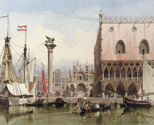 Sailingvessels moored by the Doge's Palace, Venice