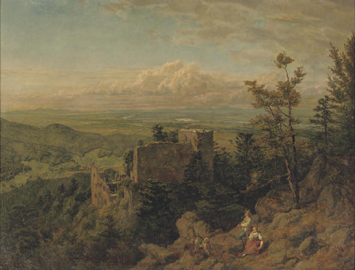 Die burgruine Hohenbaden: looking out over the Rhein valley, Baden Baden