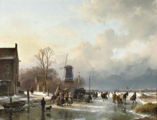 An extensive winter landscape with numerous villagers on the ice