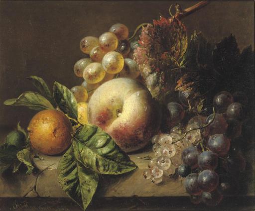 A peach, medlar, grapes and white currants on a ledge