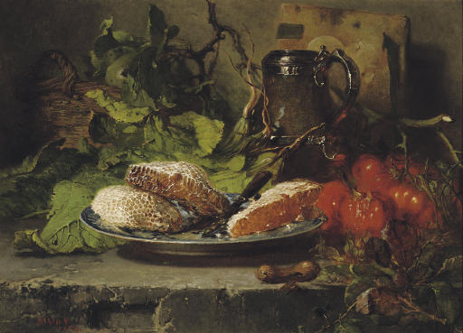 A kitchen still life with honeycombs