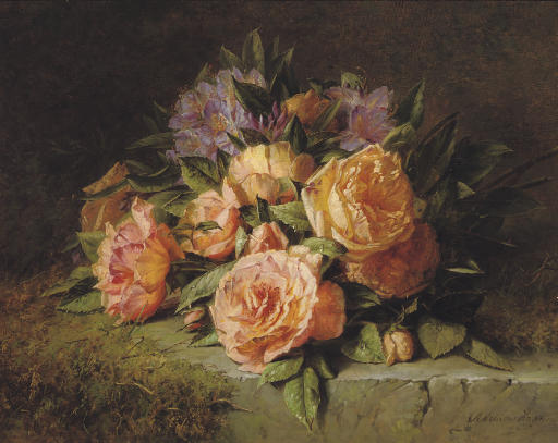 Pink roses and rhododendrons on a marble ledge
