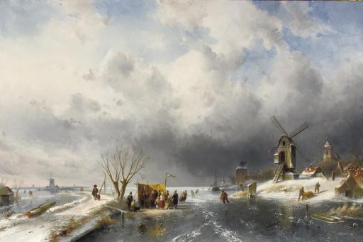 At the 'koek en zopie' in a panoramic winter landscape