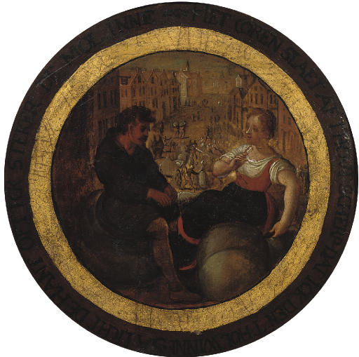 An Allegory of Commerce: Peasants seated in front of a view of a town