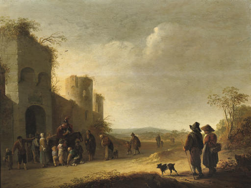 An Allegory of Charity: Saint Martin dividing his cloak outside the walls of a town