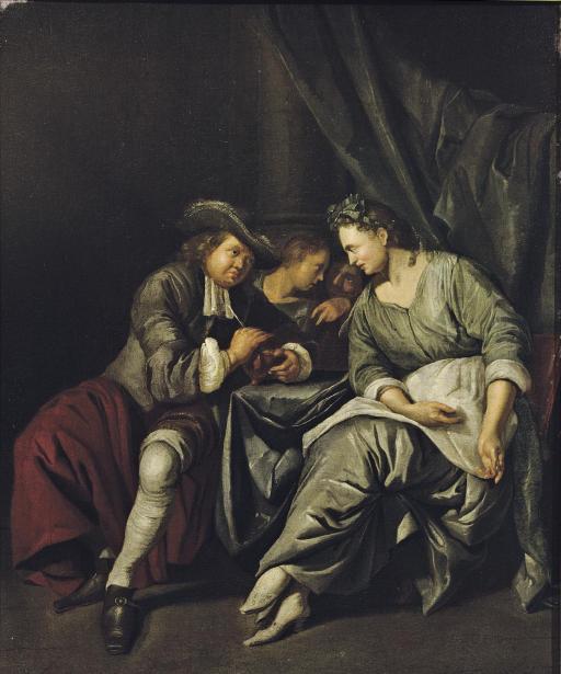 A couple conversing in an interior