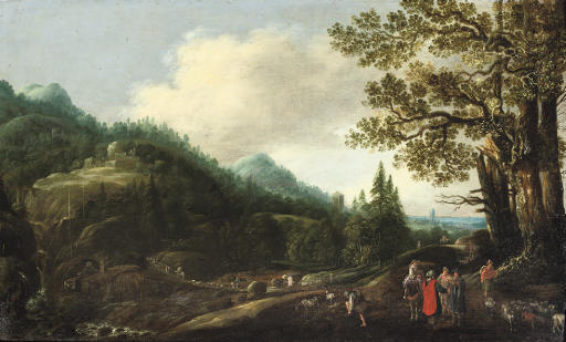 An extensive wooded landscape with the Reconcilliation of Jacob and Laban