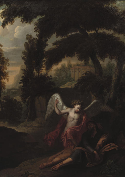 The Angel visiting Jacob in a wooded landscape