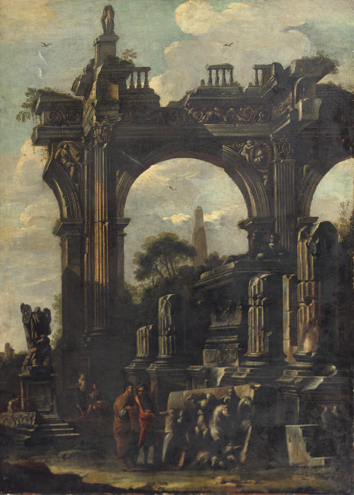 An architectural 'capriccio' with ancient ruins and two figures discussing a bass relief