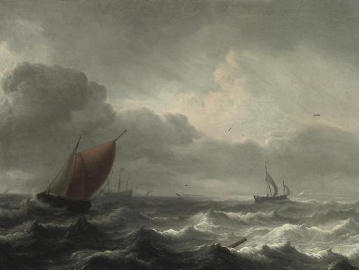 A three-master in choppy waters, a coast beyond