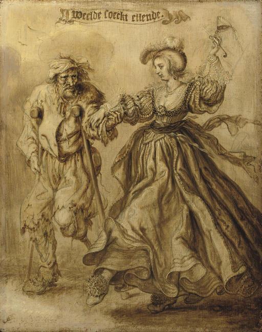 'Weelde soeckt ellende': An elegant lady accompanied by a beggar