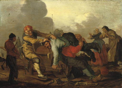 Figures brawling with onlookers on a road