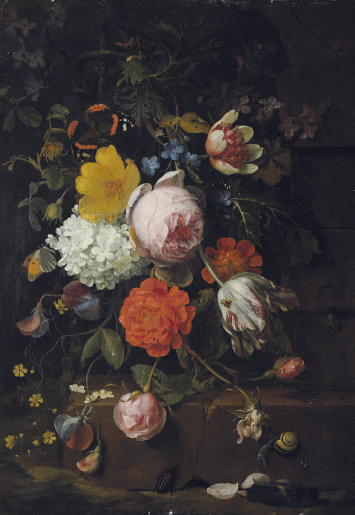 Peonies, tulips, roses and other flowers on a ledge with a snail, a beetle and a butterfly