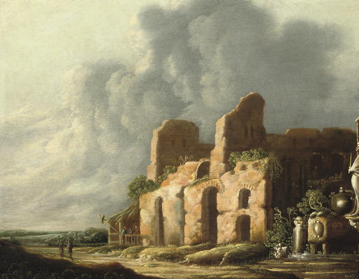 An Italiante landscape with ancients ruins