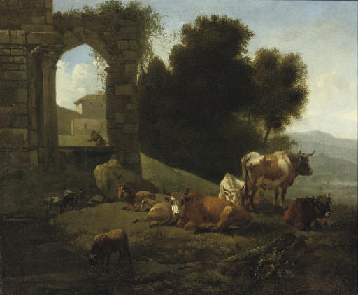 Cattle and sheep by a ruined church in an Italianate landscape