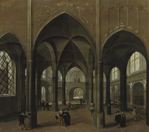 The interior of a church with elegant figures
