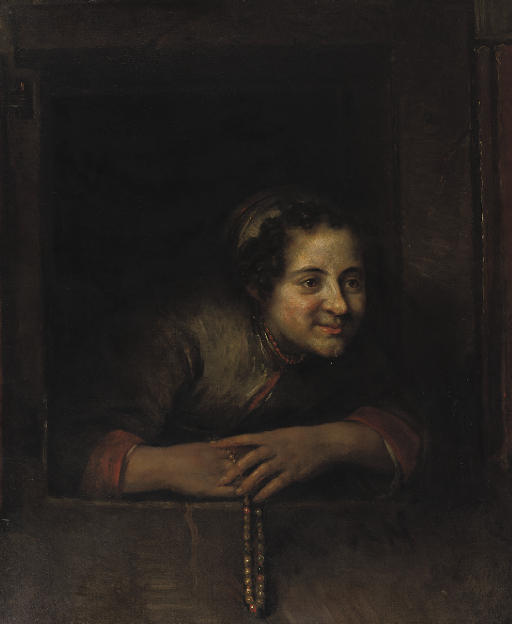 A young woman leaning out of a window, holding a pearl necklace