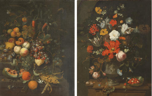 Tulips, roses, carnations, lilies and other flowers in a sculpted vase depicting Venus and Cupid, strawberries in a cabage leaf, other berries and a snail, all on a stone ledge; and Oranges, a watermelon, plums, peaches, a pear, a pomegranate, peppers, black and white grapes, a lemon and a corn on a cob, all on stone steps with snails, a beetle and butterflies nearby