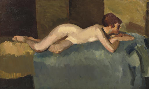 Reclining nude on a sofa