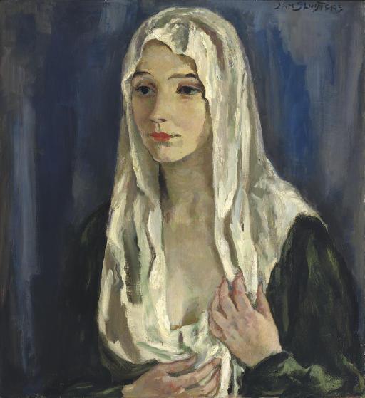 A portrait of a woman wearing a veil