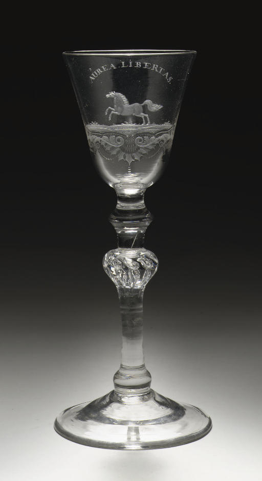 A Dutch-engraved light-baluster goblet