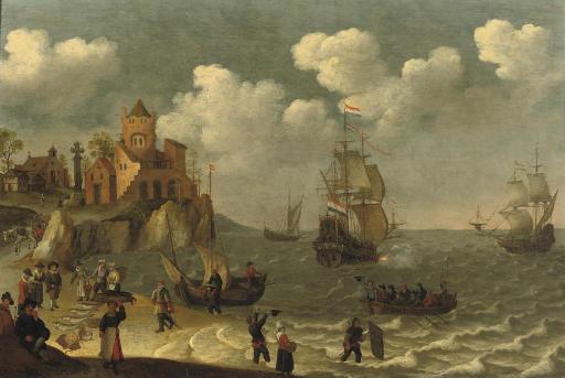 Fishermen unloading their boat near a coastal town, shipping beyond