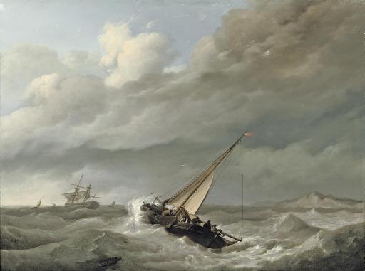 Shipping in choppy sea before a rocky coast