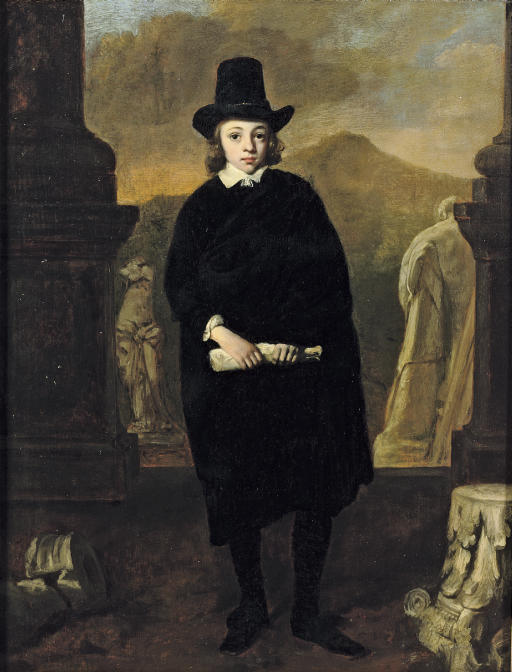 Portrait of a young man, full-length, in a black costume and hat, standing amongst classical sulpture, a landscape beyond