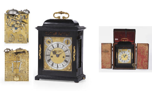 A William and Mary ebony and gilt-brass mounted striking table clock with pull quarter repeat
