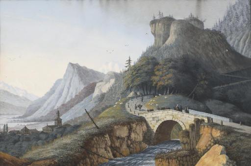 Crossing a bridge by Mount St Plomb
