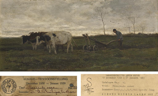 Ploegende Ossen: a farmer ploughing with three oxen