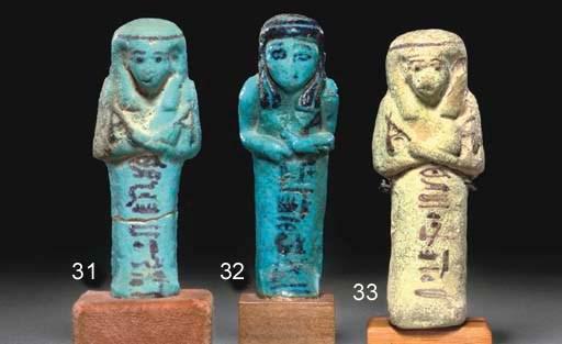 AN EGYPTIAN BRIGHT BLUE GLAZED