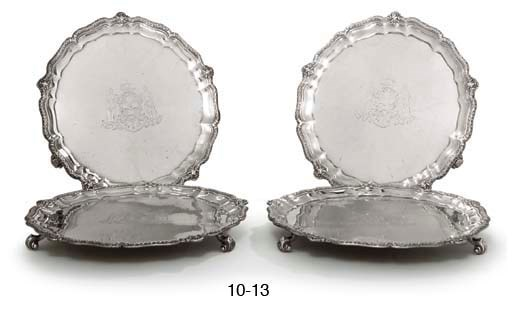 A VICTORIAN SILVER SALVER FROM