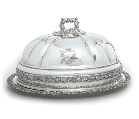 A SILVER-PLATED MEAT-DISH AND